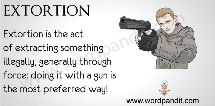 picture vocabulary for extortion