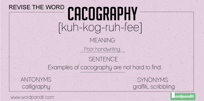 meaning, picture, sentence for cacography
