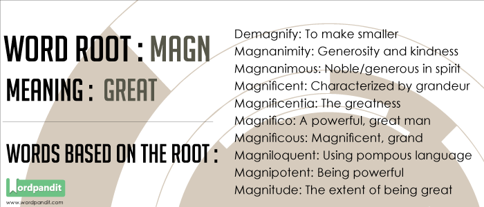 Words based on the Magni Root Word