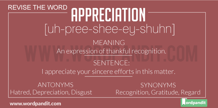 Meaning of Appreciation | Definition of Appreciation | Appreciation in a Sentence | Appreciation Synonyms | Appreciation Antonyms