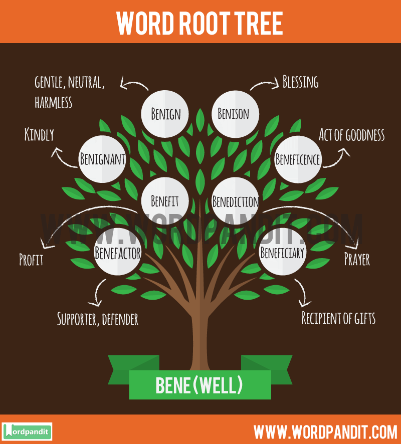 Detailed List of Words based on Bene Root along with meaning
