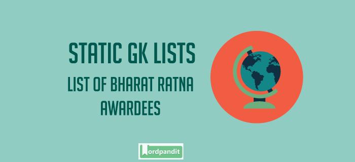 List of Bharat Ratan Awardees