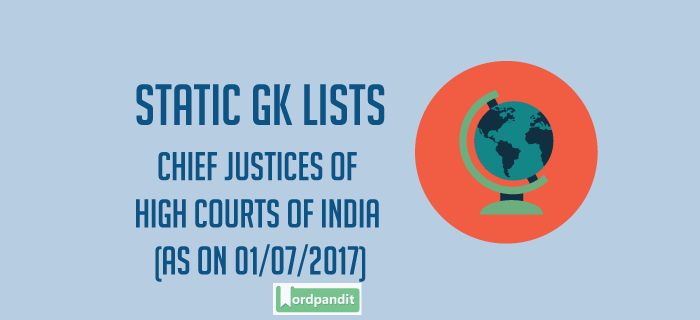 List of Chief Justice of High Courts of India