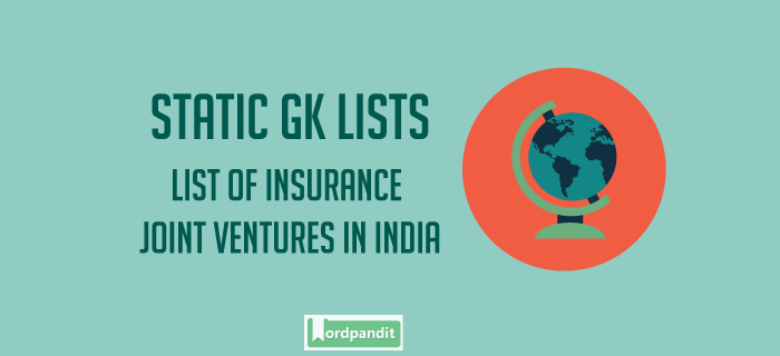 List of Joint Venture Insurance companies