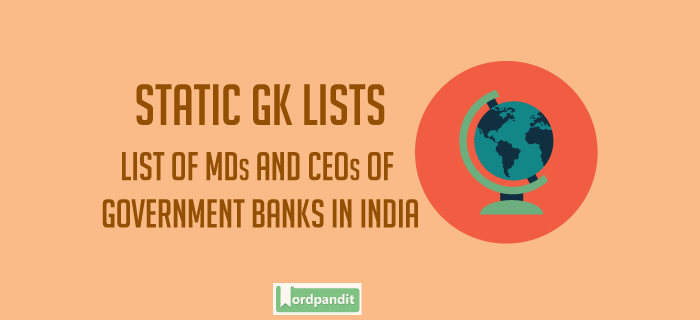 List of MD's,CEO of public sector banks in India